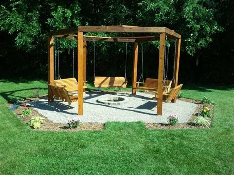 Octagon Five Swing Backyard Swing./ Fire Pit.