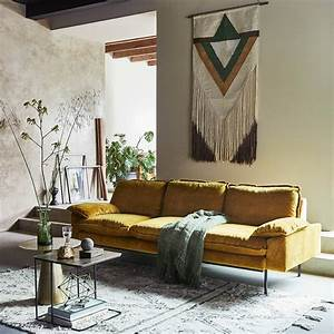 hk living bank trendy ocher 4 zits yellow velvet With tapis berbere avec canapé chesterfield 4 places