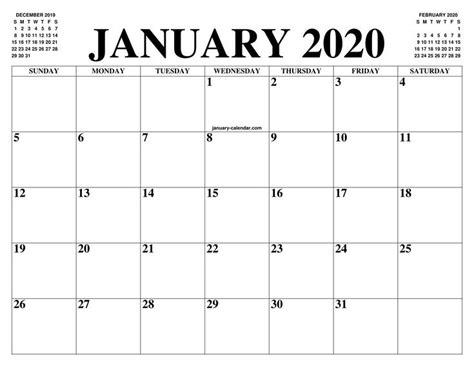 january calendar  printable template blank