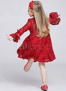 Robe Boheme Fille : robe boh me adorbale de cort ge fille en dentelle rouge col rond avec noeud ~ Melissatoandfro.com Idées de Décoration