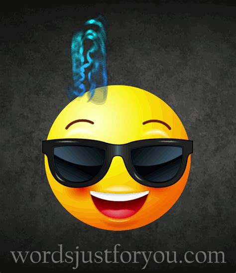 animated super cool emoji gif  words