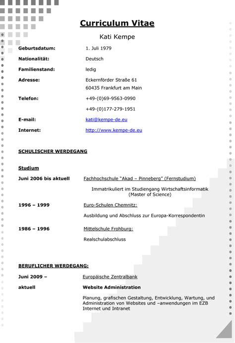 Lebenslauf Auf by Lebenslauf Dokument Lebenslauf Beispiel