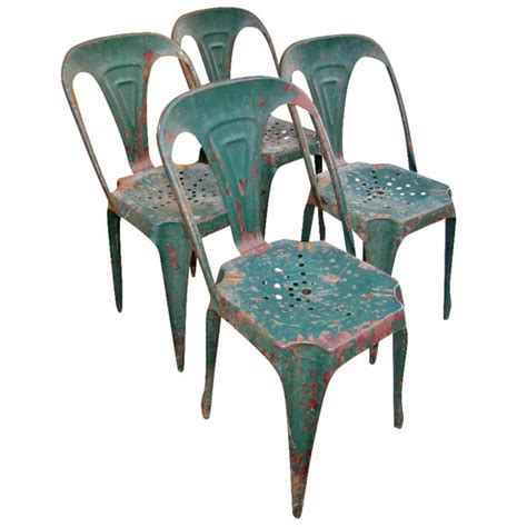 set of 4 metal cafe chairs at 1stdibs