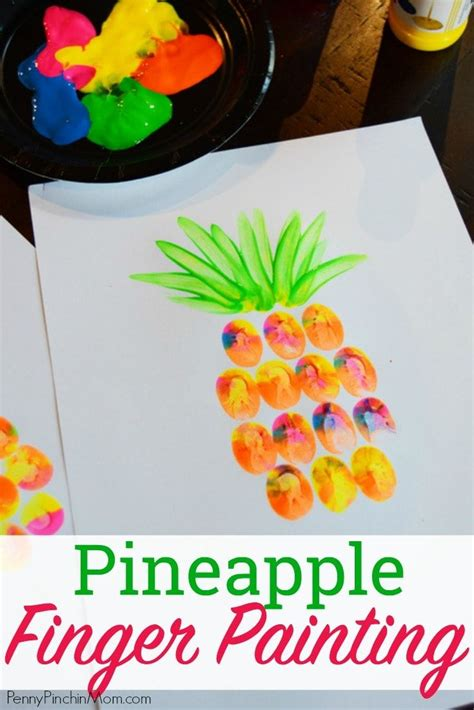 pineapple finger painting diy crafts  kids easy diy