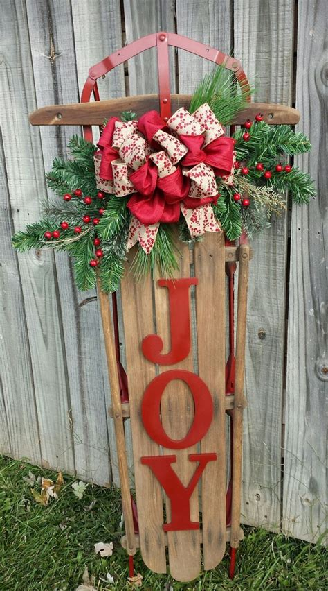 sled decor ideas  pinterest christmas sled