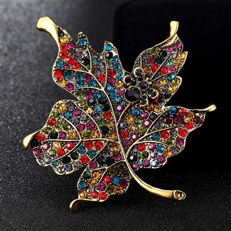 blucome enamel brooches jewelry big size leafs brooch pins