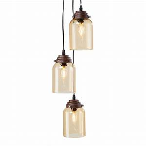 Justina light amber colored glass triple pendant lamp