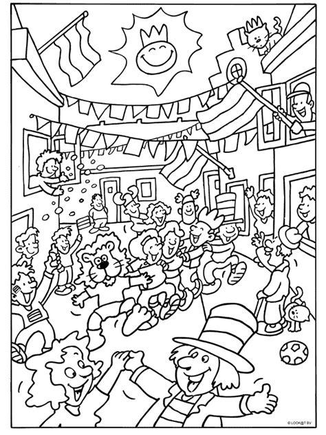Kleurplaat Carnaval Groep 8 by Kleurplaat Feest Op Straat Kleurplaten Nl