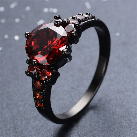 ct garnet ruby wedding rings crystal womens kt