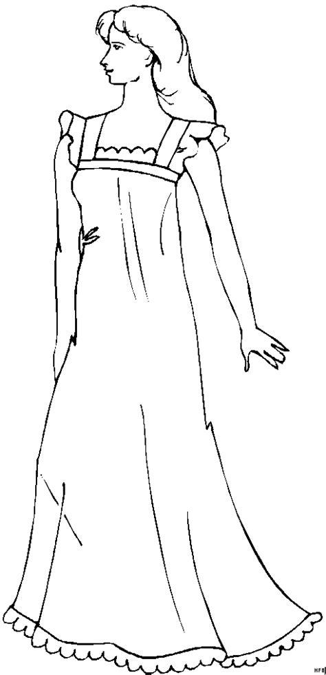 frau mit sehr langem kleid ausmalbild malvorlage mode