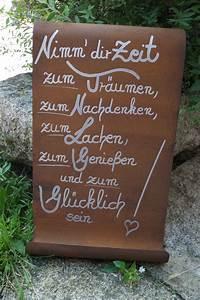 Rost Auf Metall Entfernen : edelrost tafel nimm dir zeit spruch garten metall rost ~ Lizthompson.info Haus und Dekorationen