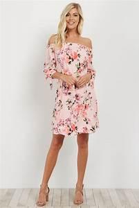 Pink Floral Off Shoulder Maternity Dress
