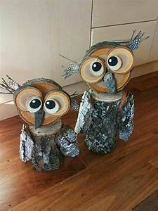 Wood/Log Owl Decorations - Crafty Morning