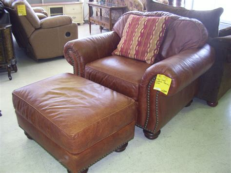 furniture brown leather ottomans for vintage living room