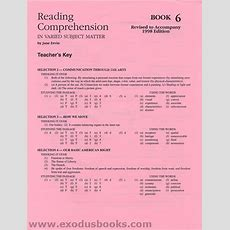 Reading Comprehension In Varied Subject Matter Book 6  Answer Key  Exodus Books
