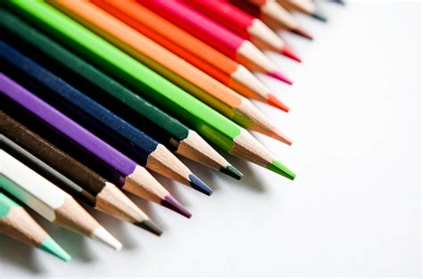 color pencils  white background stock  fotos