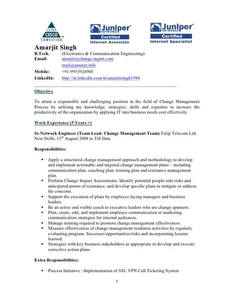 Change Manager Resume Format by Amarjit Singh Resume Team Lead Change Management At Tulip