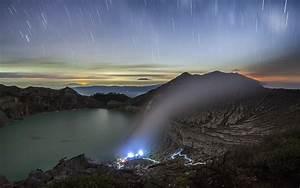 nature, , landscape, , sunset, , lake, , crater, , mountain, , mist