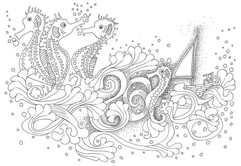 dibujo  colorear relajante mar hipocampos