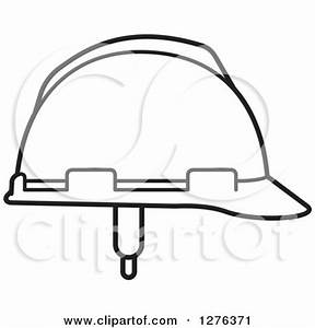 Clipart of a Black White and Gradient Orange Hardhat ...