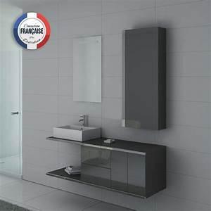 Meuble Simple Vasque : meuble de salle de bain gris meuble 1 vasque pour salle de bain dis9450gt distribain ~ Teatrodelosmanantiales.com Idées de Décoration