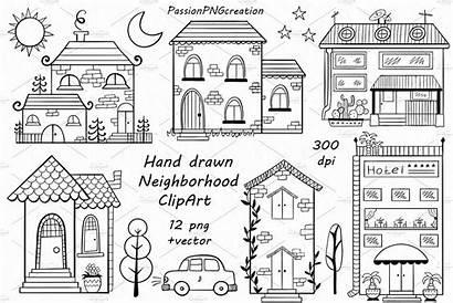 Neighborhood Clipart Neighbourhood Drawing Doodle Drawn Hand