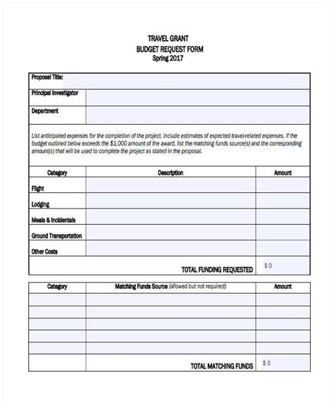 travel budget request template sle budget forms