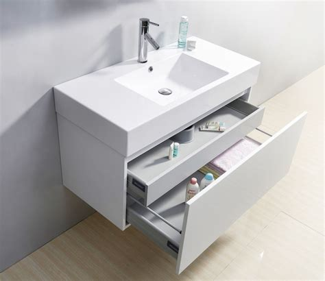 Sink Bathroom Vanity Cabinets by 39 Quot Glossy White Modern Floating Single Sink Bathroom