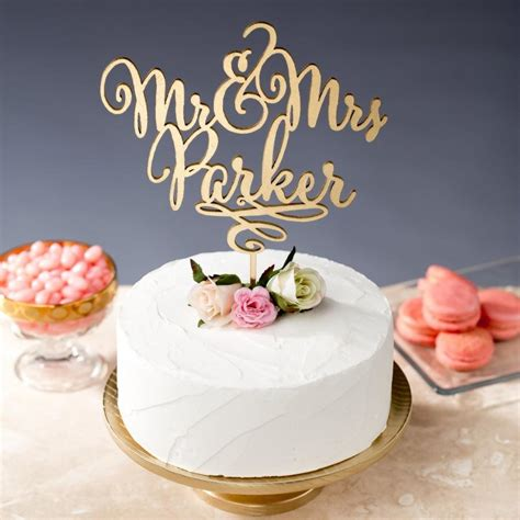 Gold Mr Mrs Cake Topper Custom Cake Topper For Wedding