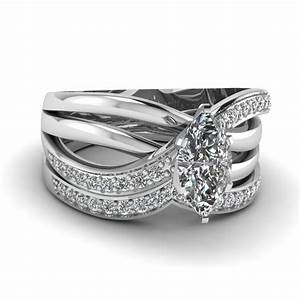 14k white gold marquise shaped wedding sets engagement With white gold diamond wedding ring sets