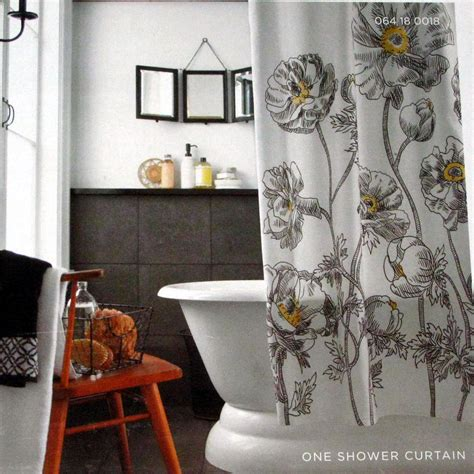 target home yellow sketch floral black white fabric shower