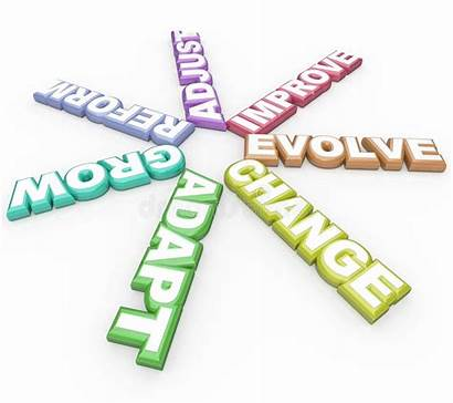 Adapt Change Evolve Words 3d Background Grow