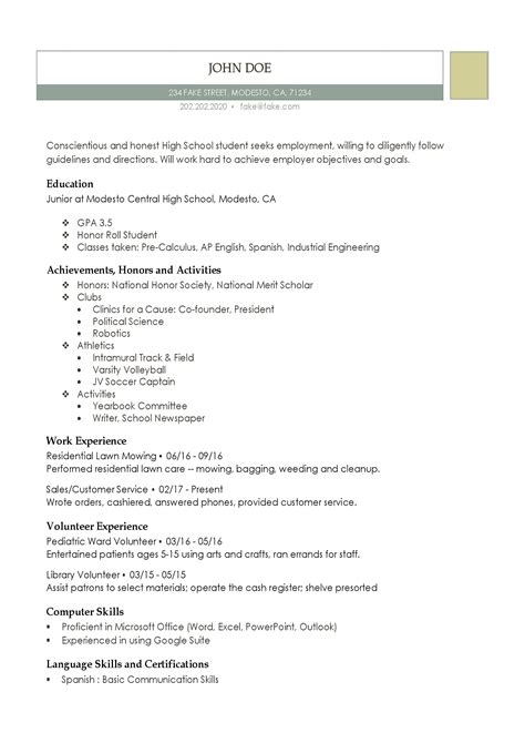 High School Resume by High School Resume Resumes For High School Students