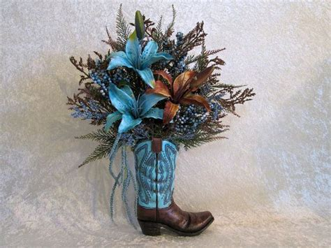 silk flower arrangement   cowboy boot