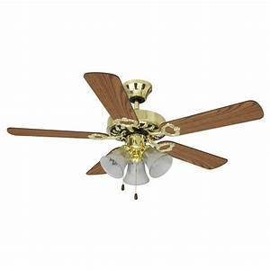 Mainstays quot dual mount light ceiling fan bright brass