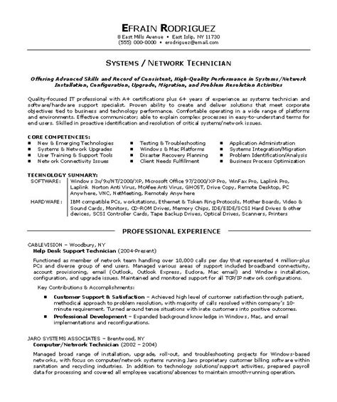 Computer Hardware Networking Resume Sles by Computer Network Technician Resume Sle Exle