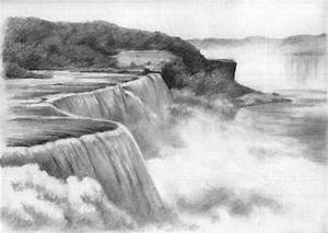 Drawn river elementary drawing exam nature - Pencil and in ...