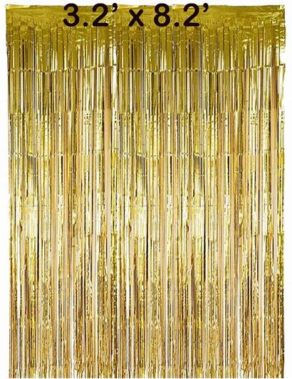 Foil Gold Curtain Backdrop Tinsel Birthday Decor