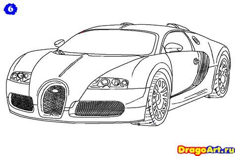 Как нарисовать Bugatti Veyron поэтапно карандашом