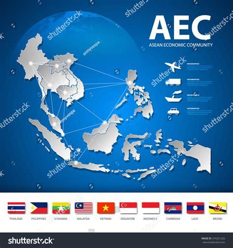 asean economic community aec map aec asean economic community map transportation stock asea