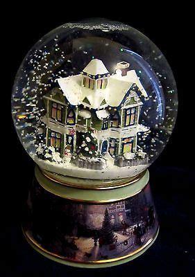 thomas kinkade light  musical snow globe victorian