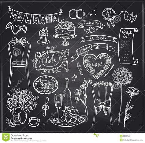 banchetto di nozze elementi di banchetto di nozze della lavagna illustrazione