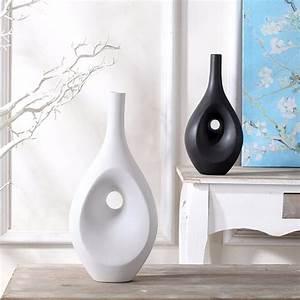Tabletop, Flower, Vase, Home, Decor, Contemporary, Black, White, Ceramic, Vase, Set, Handmade, Ceramic