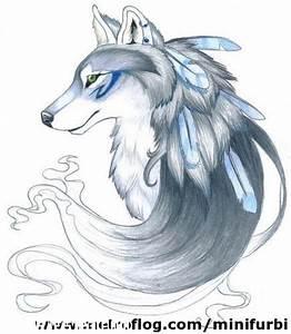 Loba con plumas en su pelaje azulado Tatuajes 123