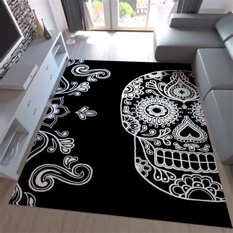 teppich schwarz weiss modern moderner teppich schwarz wei 223 kunstvoll design totenkopf motiv neu
