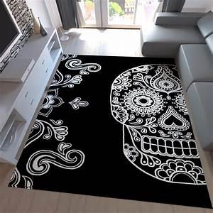 Teppich Schwarz Weiß : moderner teppich schwarz wei kunstvoll design totenkopf motiv neu ebay ~ Markanthonyermac.com Haus und Dekorationen