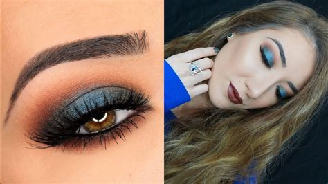 blue green smokey eye brown lips makeup tutorial