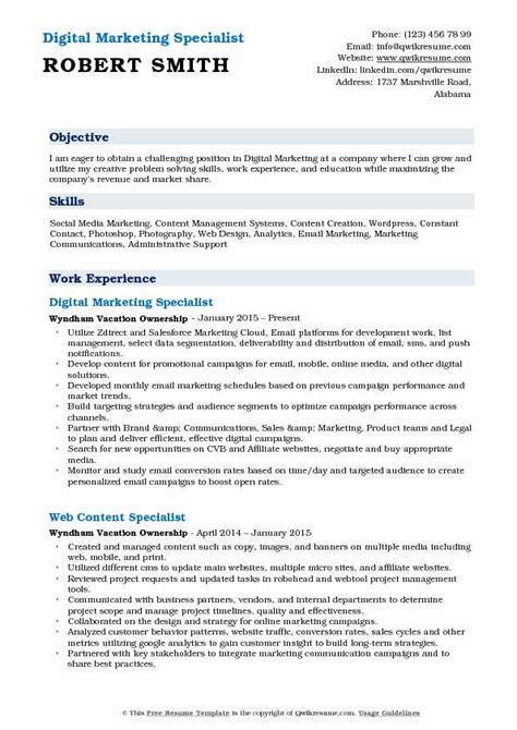 digital marketing specialist resume sles qwikresume