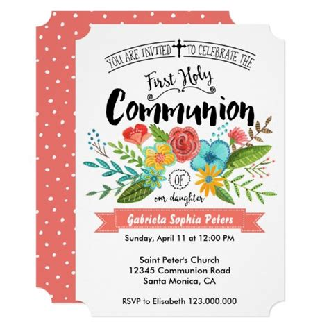 First Holy Communion Flowers Invitations Zazzle com