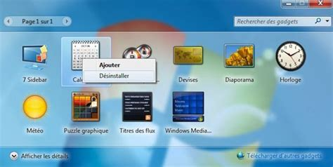 windows 7 bureau restaurer les gadgets du bureau installés avec windows